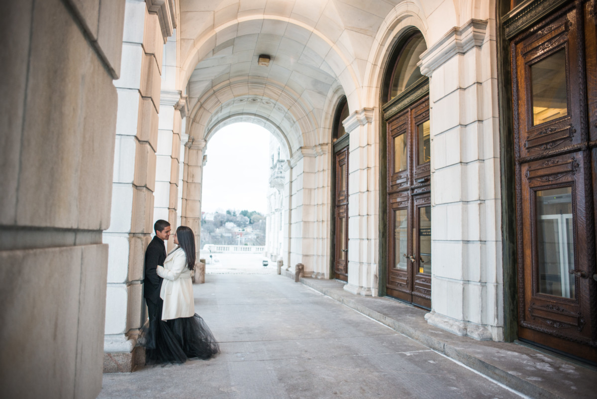 Downtown Providence Engagement - Couple in archway