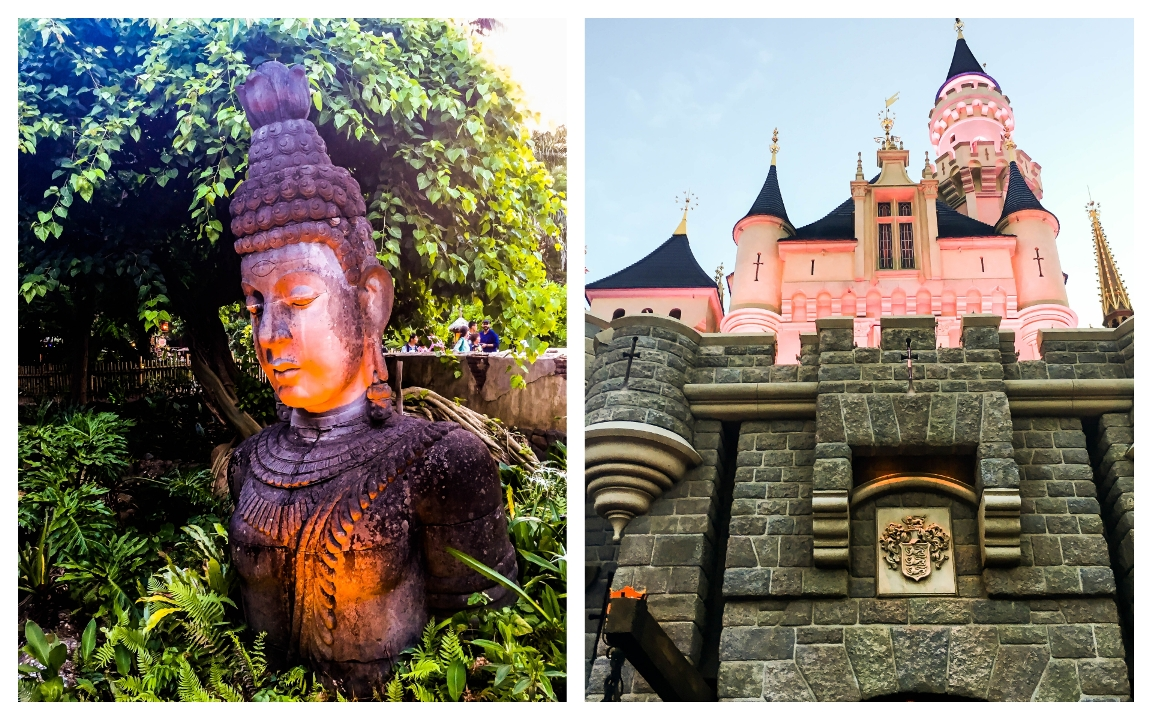 A statue of Buddha and Sleeping Beauty's Castle facade