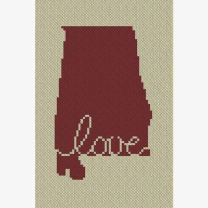 Alabama Love C2C Crochet Pattern Corner to Corner Graphghan Blue Frog Creek