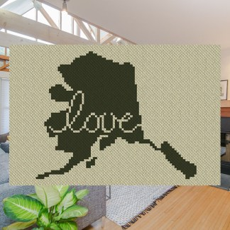 Alaska Love C2C Crochet Pattern Corner to Corner Cross Stitch Graphghan Blue Frog Creek