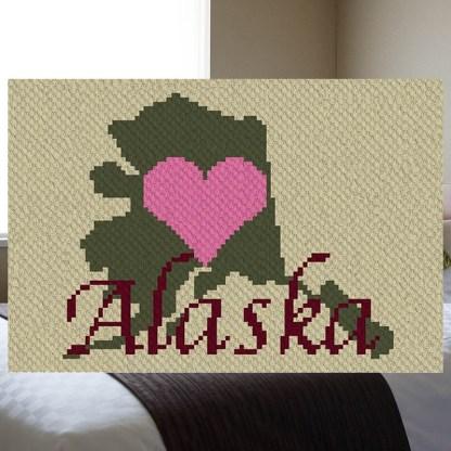 Heart Alaska C2C crochet pattern corner to corner