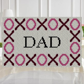 Hugs and Kisses Dad C2C Corner to Corner Crochet Pattern