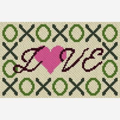 hugs kisses love C2C corner to corner crochet