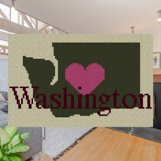 Heart Washington C2C Crochet Pattern Corner to Corner Graphghan Blanket Cross Stitch Blue Frog Creek