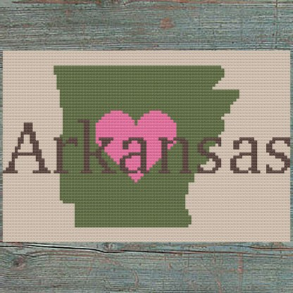 Heart Arkansas Cross Stitch Chart