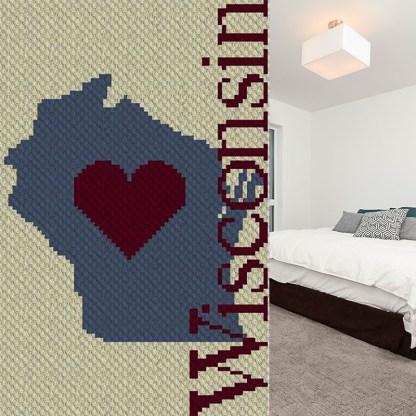 Heart Wisconsin C2C Corner to Corner Crochet Pattern