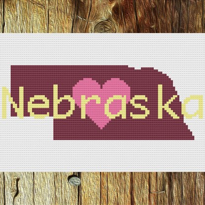 Heart Nebraska Cross Stitch Chart