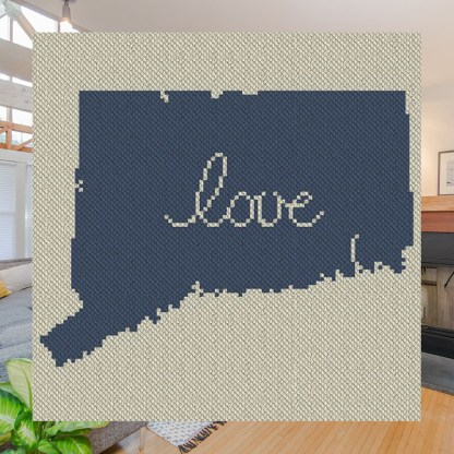 Connecticut Love C2C Afghan Crochet Pattern Corner to Corner Graphghan Cross Stitch Blue Frog Creek