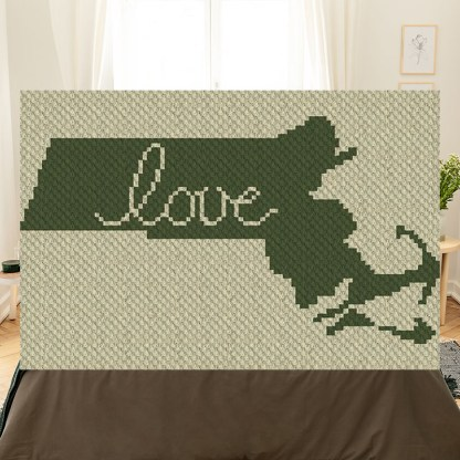 Massachusetts Love C2C Corner to Corner Crochet Pattern