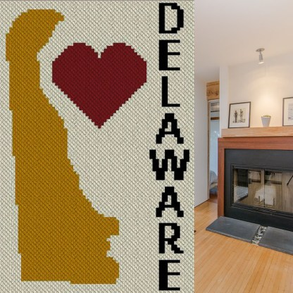 Heart Delaware C2C Afghan Crochet Pattern Corner to Corner Graphghan Cross Stitch Blue Frog Creek