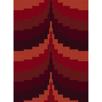 Stepping Sunset C2C Afghan Crochet Pattern Corner to Corner Cross Stitch Graphghan Blue Frog Creek