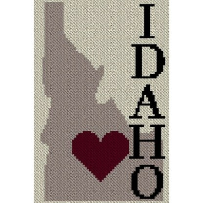 Heart Idaho C2C Afghan Crochet Pattern Corner to Corner Crochet Blanket Graphghan Cross Stitch Blue Frog Creek