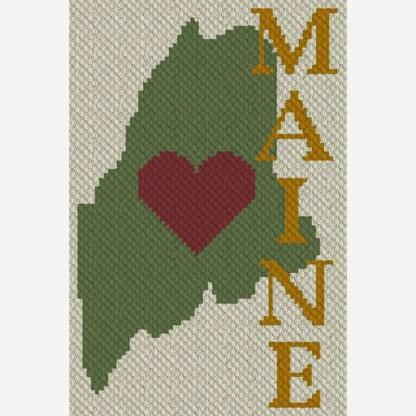 Heart Maine C2C Corner to Corner Crochet Pattern