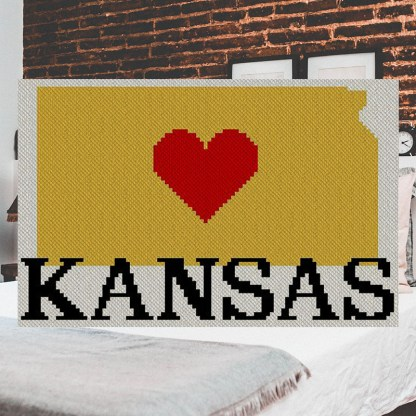 Heart Kansas C2C Afghan Crochet Pattern Corner to Corner Blanket
