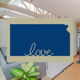 Kansas Love C2C Afghan Crochet Pattern for Corner to Corner Blanket Graphghan