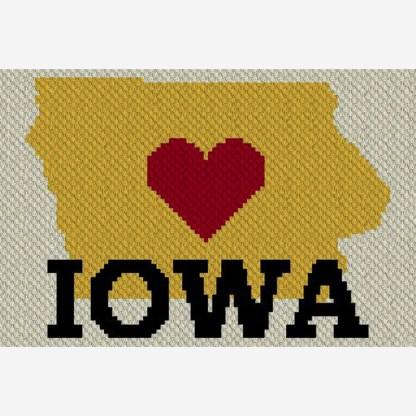 Heart Iowa C2C Afghan Crochet Pattern for Corner to Corner Crochet or Graphghan