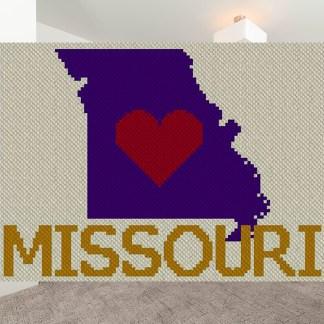 Heart Missouri C2C Afghan Crochet Pattern Corner to Corner Crochet Cross Stitch Chart