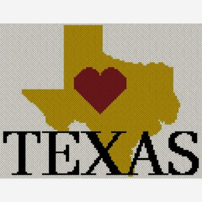 Heart Texas C2C Afghan Crochet Pattern Corner to Corner Graphghan Cross Stitch Blue Frog Creek