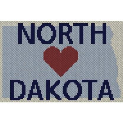 Heart North Dakota C2C Afghan Crochet Pattern Corner to Corner Graphghan Cross Stitch Blue Frog Creek