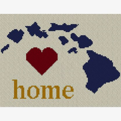 Hawaii Home Afghan C2C Crochet Pattern Corner to Corner Graphghan Cross Stitch Blue Frog Creek