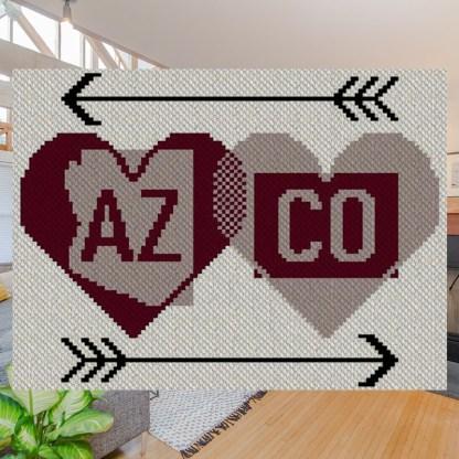 Hearts Apart Arizona Colorado C2C Afghan Crochet Pattern Corner to Corner Blanket Graphghan Cross Stitch Blue Frog Creek