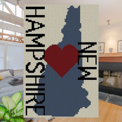 Heart New Hampshire C2C Crochet Pattern Corner to Corner Graphghan Cross Stitch Blue Frog Creek
