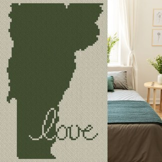 Vermont Love C2C Afghan Crochet Pattern Corner to Corner Graphghan Cross Stitch Blue Frog Creek