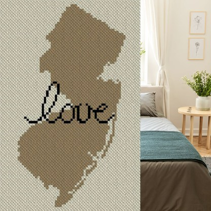 New Jersey Love C2C Afghan Crochet Pattern Corner to corner Graphghan Cross Stitch Blue Frog Creek