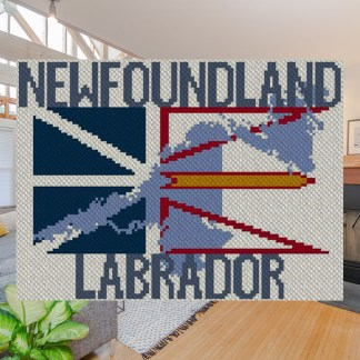 Flag of My Home Newfoundland Labrador C2C Afghan Crochet Pattern Corner to Corner Graphghan Cross Stitch Blue Frog Creek