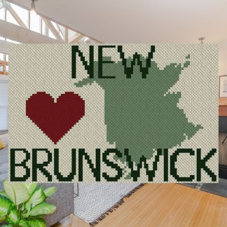Heart New Brunswick C2C Afghan Crochet Pattern Corner to Corner Graphghan Cross Stitch Blue Frog Creek 800b