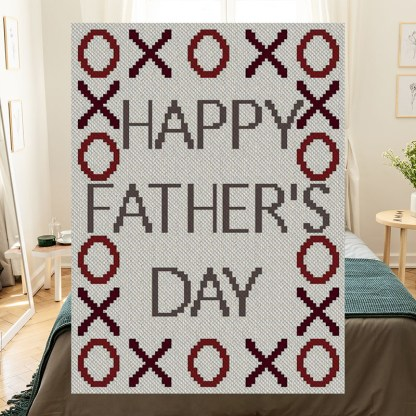 XOXO Happy Fathers Day C2C Afghan Crochet Pattern Corner to Corner Graphghan Cross Stitch Blue Frog Creek