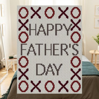 XOXO Happy Fathers Day C2C Afghan Crochet Pattern Corner to Corner Graphghan Cross Stitch Blue Frog Creek