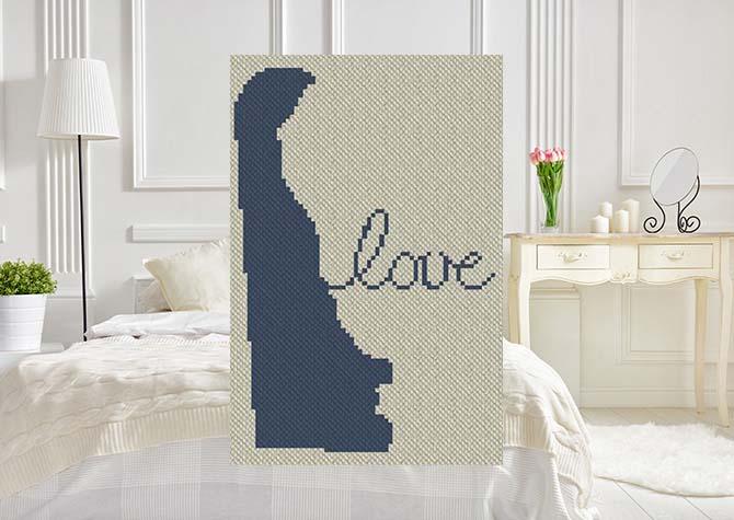 Delaware Love C2C Crochet Pattern