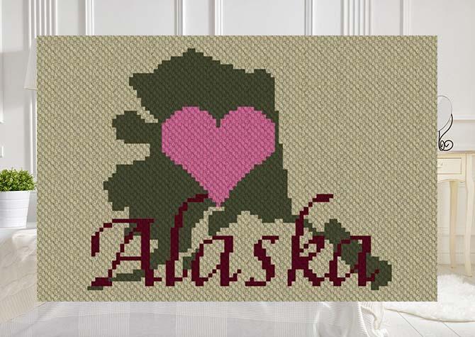 Heart Alaska C2C Crochet Pattern