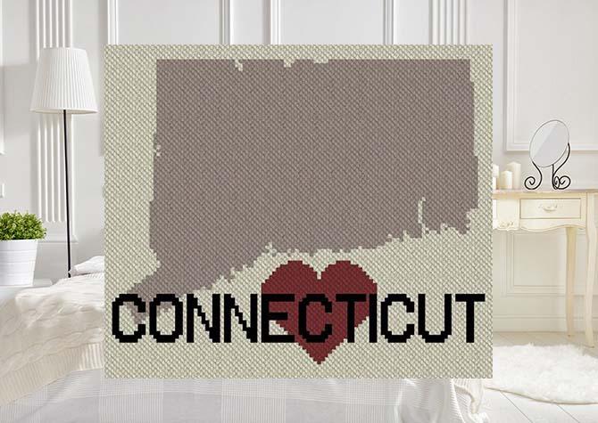 Heart Connecticut C2C Afghan Crochet Pattern