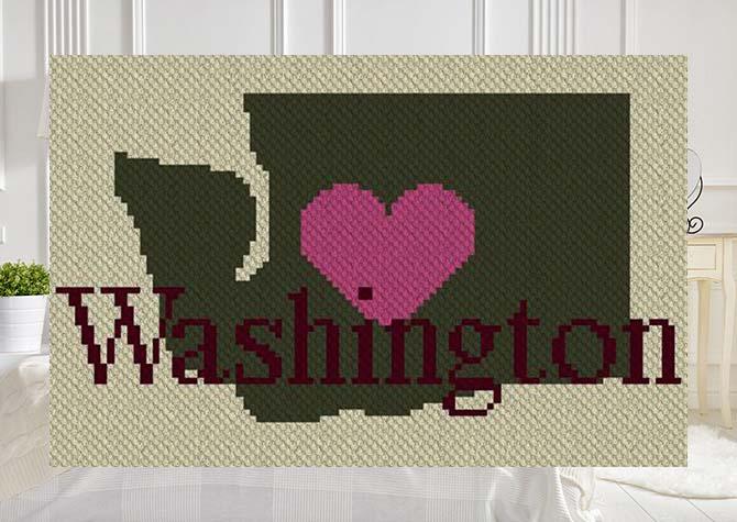 Heart Washington C2C Crochet Pattern