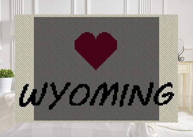 Heart Wyoming C2C Afghan Crochet Pattern