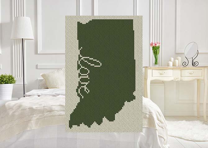 Indiana Love C2C Afghan Crochet Pattern