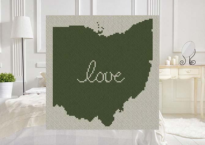 Ohio Love C2C Afghan Crochet Pattern
