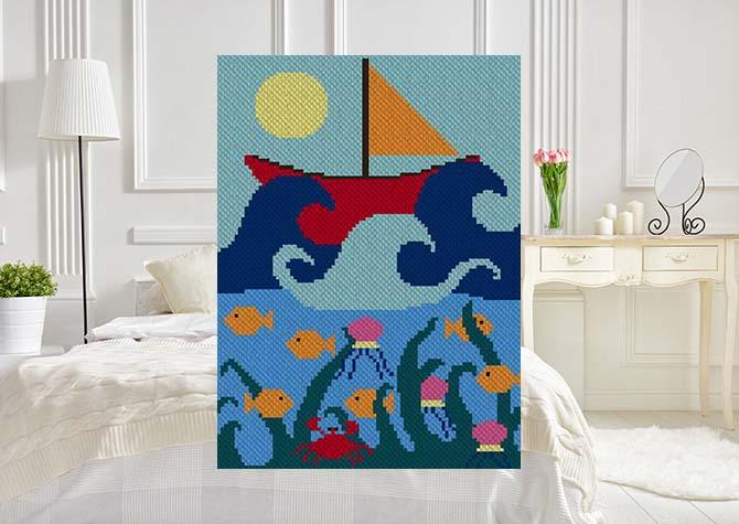 Ship at Sea C2C Crochet Pattern