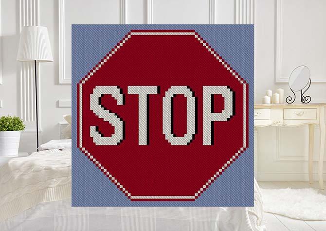 Stop Sign C2C Afghan Crochet Pattern