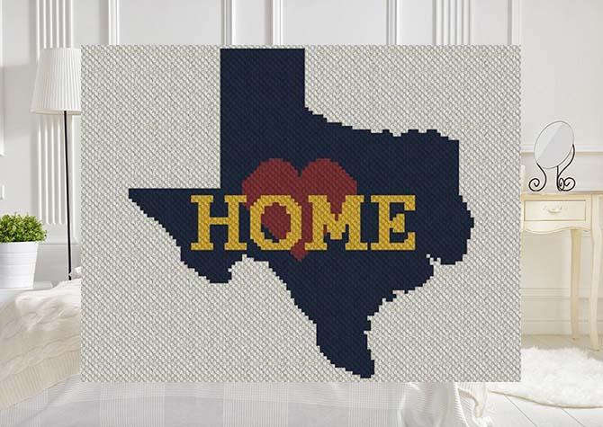 Texas Home C2C Afghan Crochet Pattern