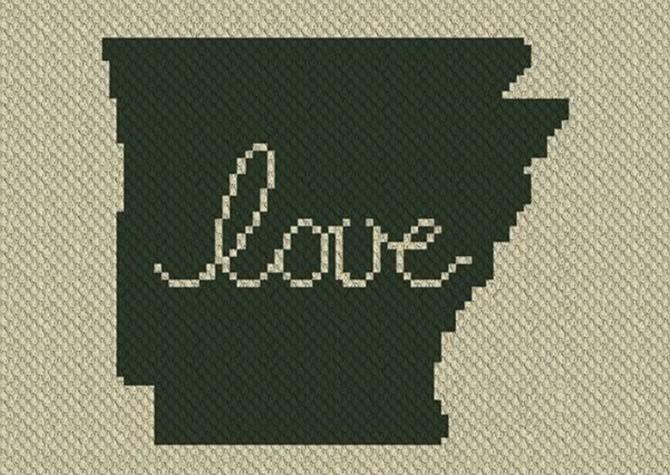 Arkansas Love C2C Crochet Pattern