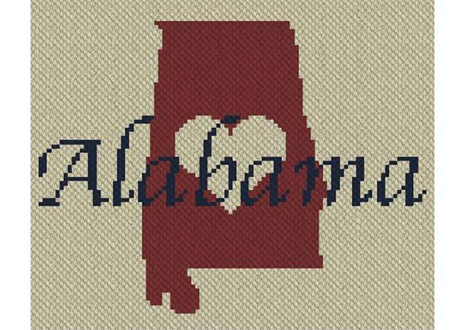 Heart Alabama C2C Crochet Pattern