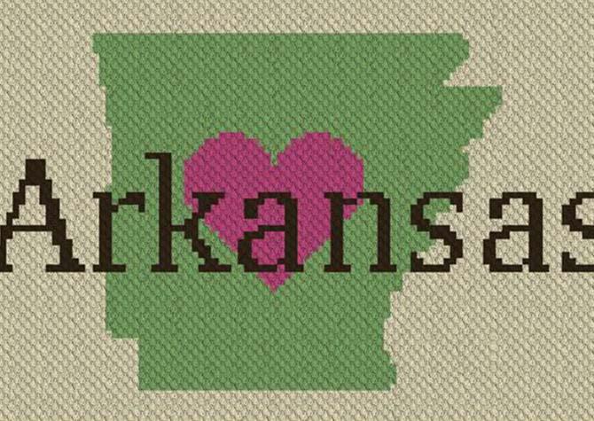 Heart Arkansas C2C Crochet Pattern