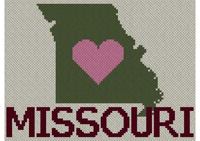 Heart Missouri C2C Afghan Crochet Pattern