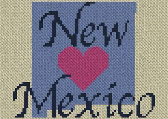 Heart New Mexico C2C Crochet Pattern