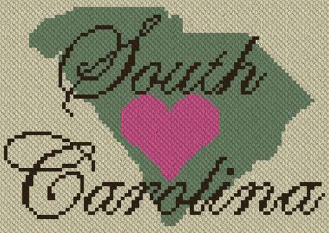 Heart South Carolina C2C Crochet Pattern