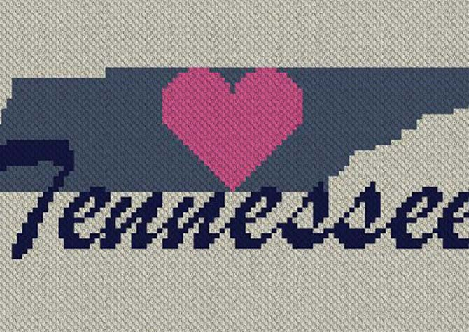 Heart Tennessee C2C Crochet Pattern