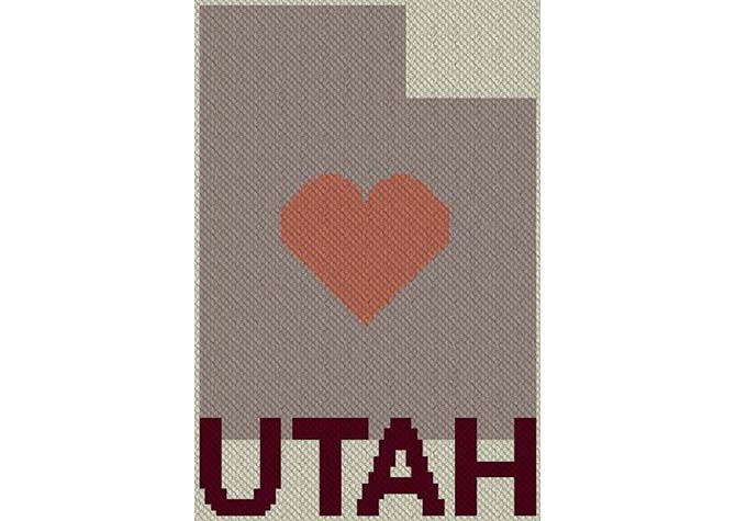 Heart Utah C2C Afghan Crochet Pattern
